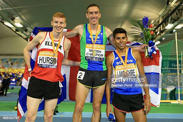 Winner Lee Emmanuel of Great Britain second place Philip Hurst of Great Britain and third place Tom Lancashire of Great Britain pose with their...