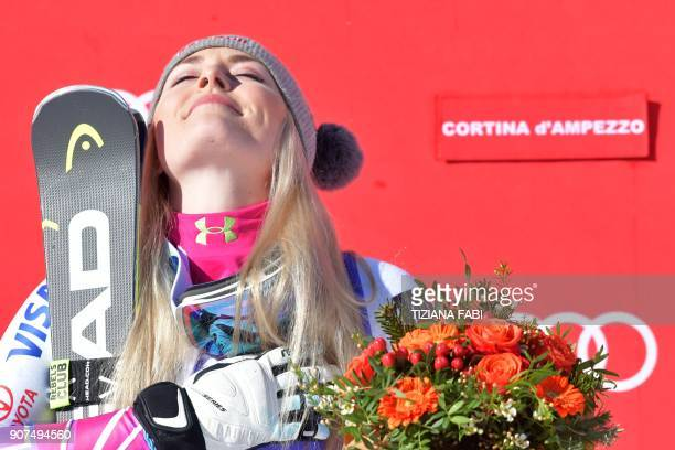 TOPSHOT Winner Lindsey Vonn from the USA celebrates during the podium ceremony of the FIS Alpine World Cup Women's Downhill on January 20 2018 in...