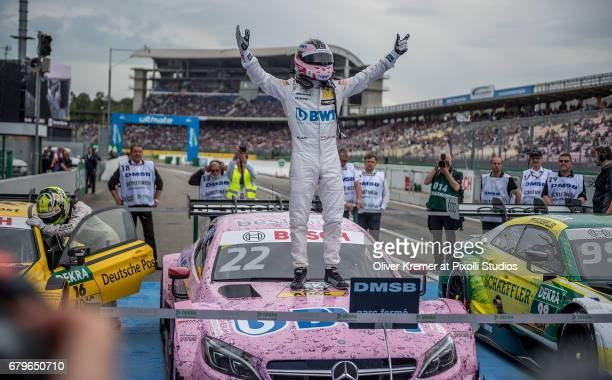 Winner Lucas Auer of MercedesAMG DTM Team Muecke celebrates his win after the DTM Race Session 1 at the Hockenheimring during the DTM German Touring...