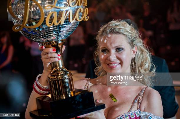 Winner Magdalena Brzeska poses for the photographers after 'Let's Dance' Finals at Coloneum on May 23 2012 in Cologne Germany