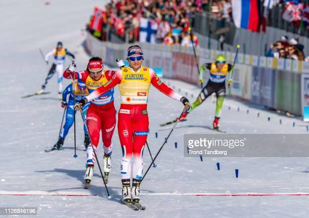 Winner Maiken Caspersen Falla of Norway Natalia Nepryaeva of Russia during FIS Nordic World Ski Championship Cross Country Ladies 12 km Sprint Free...