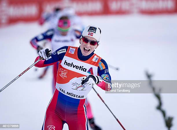 Winner Marit Bjoergen of Norway celebrates during 14 km Sprint Free Tour de Ski on January 6 2015 in Mustair Switzerland
