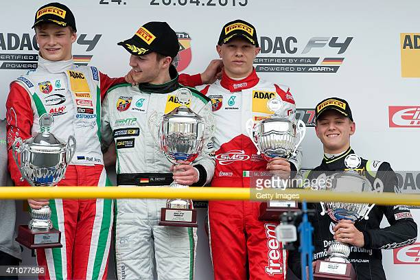 Winner Marvin Dienst celebrates on the podium with 2nd placed driver Aron Ralf and 3rd placed driver Mattia Drudi and Mick Schumacher as best rookie...