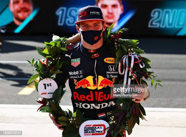 Winner Max Verstappen of Netherlands and Red Bull Racing celebrates in parc ferme during the Sprint for the F1 Grand Prix of Great Britain at...