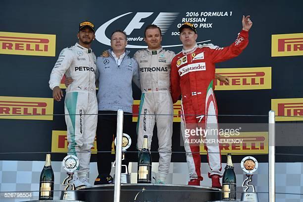 Winner Mercedes AMG Petronas F1 Team's German driver Nico Rosberg second placed Mercedes AMG Petronas F1 Team's British driver Lewis Hamilton and...