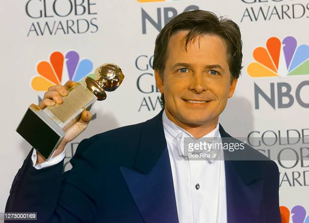 Winner Michael J Fox backstage at the 55th Annual Golden Globes Awards Show, January 18, 1998 in Beverly Hills, California.