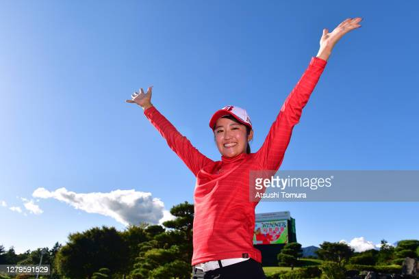 Winner Mone Inami of Japan celebrates after the final round of the Stanley Ladies Golf Tournament at the Tomei Country Club on October 11 2020 in...