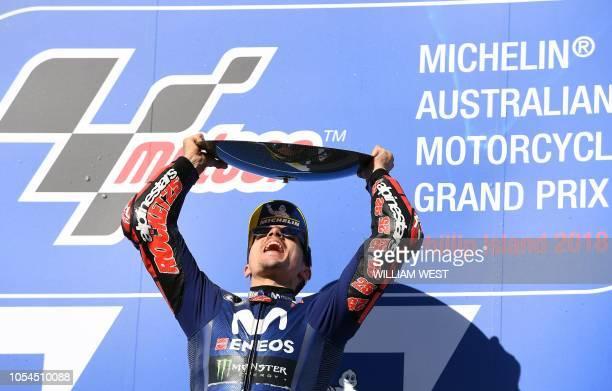 Winner Movistar Yamaha MotoGP's Spanish rider Maverick Vinales celebrates on the podium of the MotoGP Australian Grand Prix at Phillip Island on...