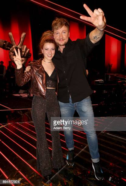 Winner Natia Todua poses with her coach Samu Haber after winning the 'The Voice of Germany' finals at Studio Berlin Adlershof on December 17 2017 in...