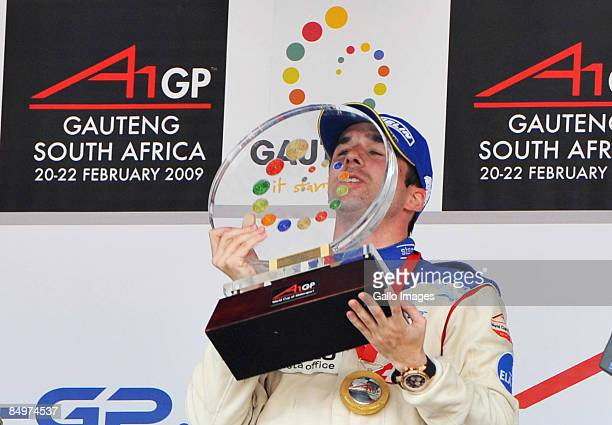Winner Neel Jani icelebrates after the A1 GP Feature Race held at Kyalami race track on February 22 2009 in Gauteng South Africa