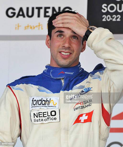 Winner Neel Jani celebrates after the A1 GP Feature Race held at Kyalami race track on February 22, 2009 in Gauteng, South Africa.