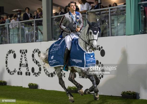 Winner Nicola Philippaerts and horse H and M Harley vd Bisschop perform a victory lap at end of the awards ceremony of 'CSI 5' Longines Global...