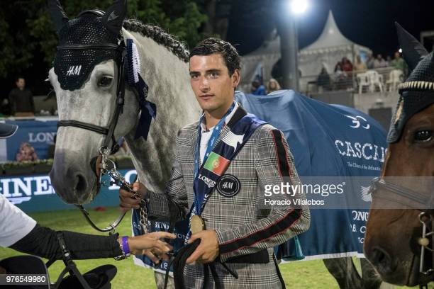Winner Nicola Philippaerts and horse H and M Harley vd Bisschop at the end of awards ceremony of 'CSI 5' Longines Global Champions Tour Grand Prix of...