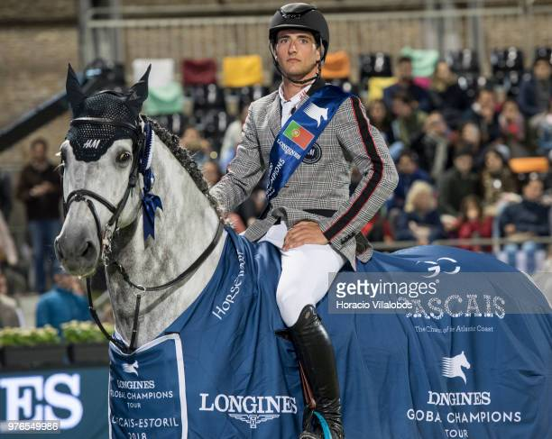 Winner Nicola Philippaerts and horse H and M Harley vd Bisschop at the awards ceremony of 'CSI 5' Longines Global Champions Tour Grand Prix of...
