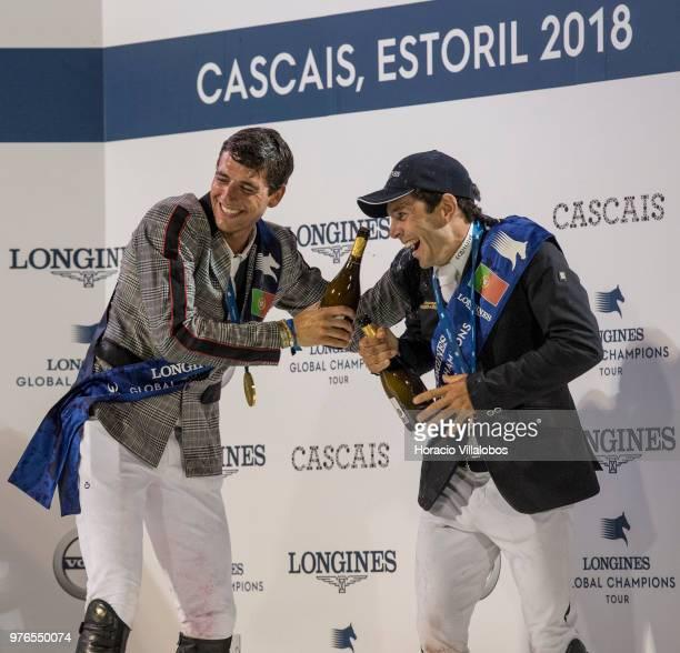 Winner Nicola Philippaerts jubilates with champagne with Eduardo Alvarez Aznar at the end of the awards ceremony of 'CSI 5' Longines Global Champions...