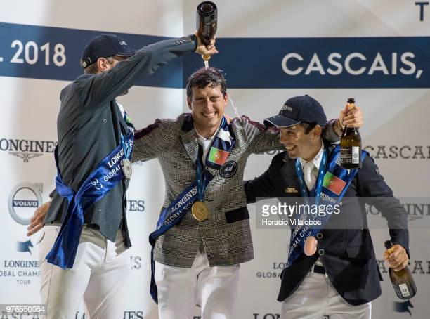 Winner Nicola Philippaerts jubilates with champagne with Gregory Wathelet and Eduardo Alvarez Aznar at the end of the awards ceremony of 'CSI 5'...