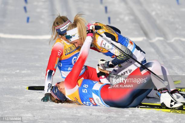 Winner Norway's Therese Johaug second placed Sweden's Frida Karlsson and third placed Norway's Ingvild Flugstad Oestberg pose after the Ladies' 10km...
