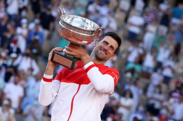 Winner Novak Djokovic of Serbia during the trophy ceremony for the Men's Singles final on day 15 of the French Open 2021, Roland-Garros 2021, Grand...