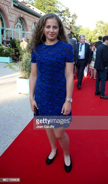 Winner of 2017 French Open Jelena Ostapenko of Lettonia following the draws of the 2018 French Open at Roland Garros stadium on May 24 2018 in Paris...