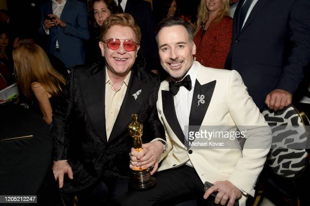 Winner of Academy Award for Best Original Song from Rocketman Elton John and David Furnish attend the 28th Annual Elton John AIDS Foundation Academy...