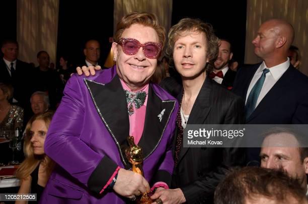 "Winner of Academy Award for Best Original Song from ""Rocketman"" Elton John and Beck attend the 28th Annual Elton John AIDS Foundation Academy Awards..."