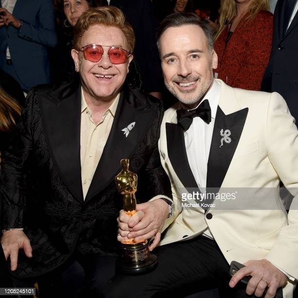 "Winner of Academy Award for Best Original Song from ""Rocketman"" Elton John and David Furnish attend the 28th Annual Elton John AIDS Foundation..."