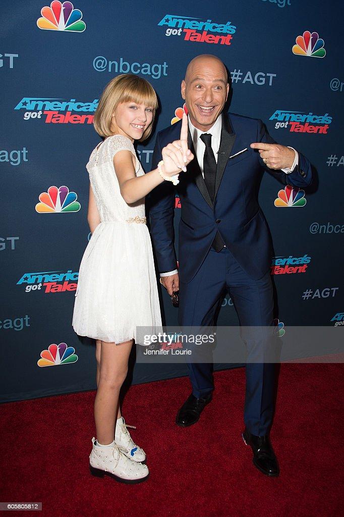 Winner of 'America's Got Talent' Season 11 Grace Vanderwaal and Howie Mandel arrive at the 'America's Got Talent' Season 11 Finale Live Show at the Dolby Theatre on September 14, 2016 in Hollywood, California.