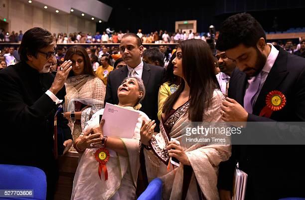 Winner of Best Actor award Amitabh Bachchan with his family members Jaya Bachchan Aishwarya Rai Bachchan and Abhishek Bachchan daughter Shweta Nanda...