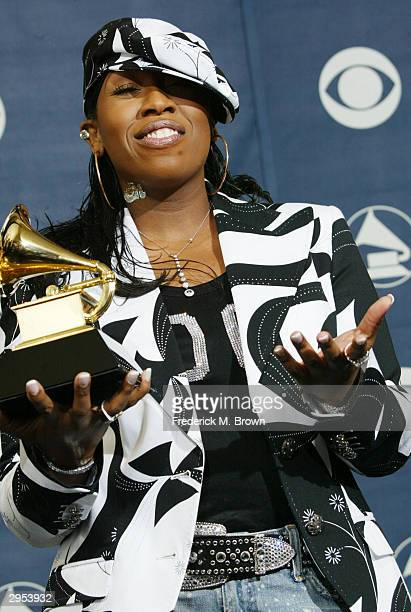 Winner of Best Female Rap Solo Performance Musical Artist Missy Elliot poses backstage in the Pressroom at the 46th Annual Grammy Awards held on...