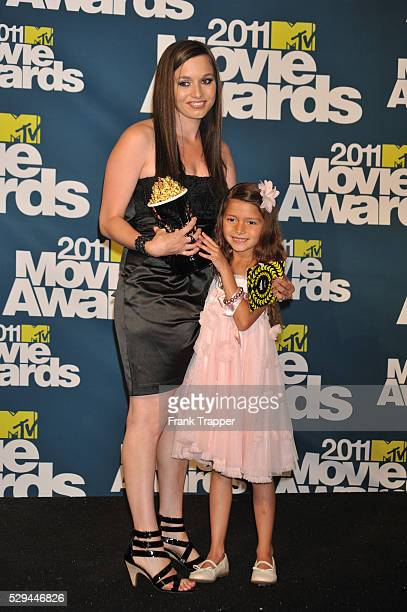 Winner of Best Line From A Movie Alexys Nycole Sanchez and mother pose in the press room at the 2011 MTV Movie Awards held at Universal Studios'...