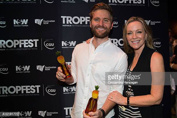 Winner of best male actor Rick Donald with judge Rebecca Gibney at Tropfest at Centennial Park on February 14 2016 in Sydney Australia
