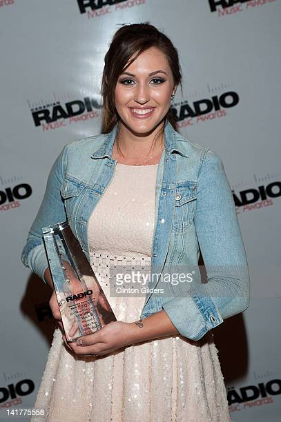 Winner of Best New Group or Solo Artist of the Year Hot A/C Alyssa Reid visits the press room at the Canadian Radio Music Awards during Canadian...