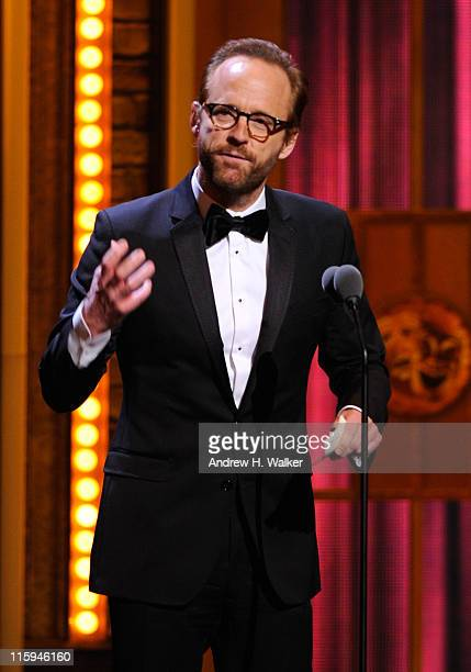 Winner of Best Performance by an Actor in a Featured Role in a Play John Benjamin Hickey speaks on stage during the 65th Annual Tony Awards at the...