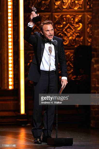 Winner of Best Performance by an Actor in a Leading Role in a Musical Norbert Leo Butz speaks on stage during the 65th Annual Tony Awards at the...
