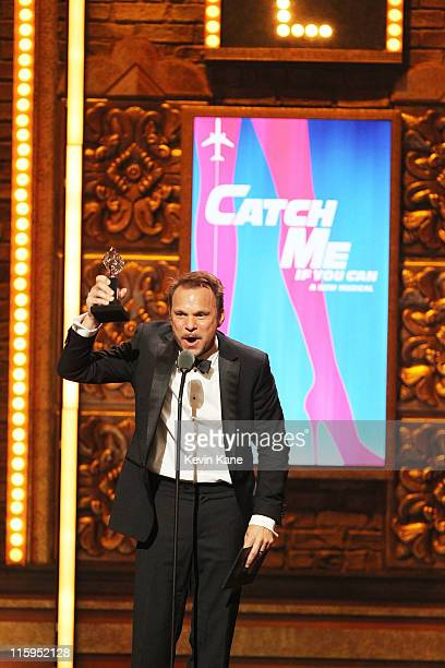 Winner of Best Performance by an Actor in a Leading Role in a Musical for 'Catch Me If You Can' Norbert Leo Butz speaks on stage during the 65th...
