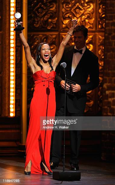 Winner of Best Poerformance by an Actress in a Featured Role in a Musical Nikki M James speaks on stage during the 65th Annual Tony Awards at the...