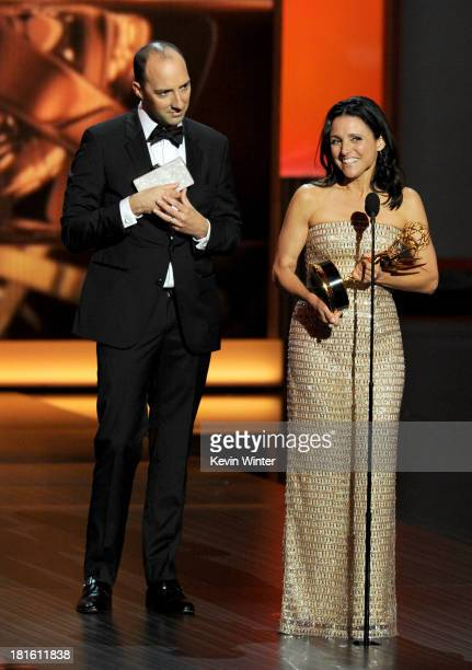 Winner of Best Supporting Actor in a Comedy Series Tony Hale and winner of Best Lead Actress in a Comedy Series Julia LouisDreyfus speak onstage...