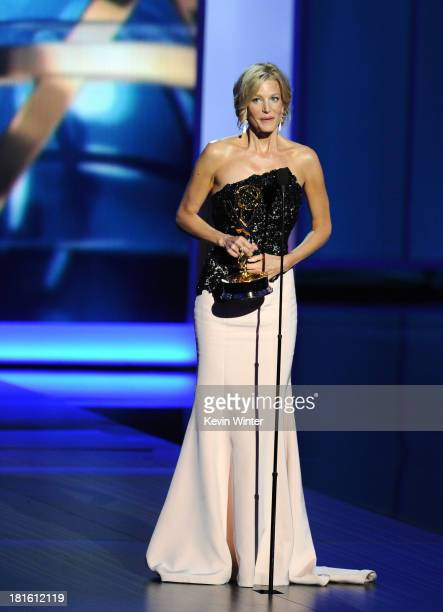 Winner of Best Supporting Actress in a Drama Series Anna Gunn speaks onstage during the 65th Annual Primetime Emmy Awards held at Nokia Theatre LA...