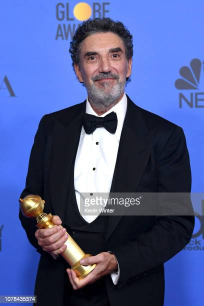 Winner of Best Television Series Musical or Comedy for 'The Kominsky Method' Creator Chuck Lorre pose with the trophy poses in the press room during...