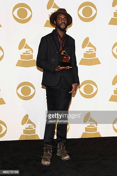 Winner of Best Traditional RB Performance Gary Clark Jr poses in the press room during the 56th GRAMMY Awards at Staples Center on January 26 2014 in...