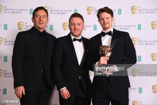 Winner of British short film 73 Cows Jason Isaacs Alex Lockwood and Oliver Watson in the press room during the EE British Academy Film Awards at...