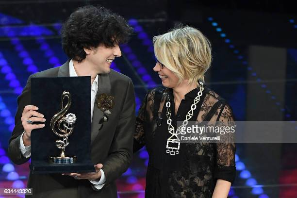 Winner of Cover Award 2017 Ermal Meta and Maria De Filippi attend the third night of the 67th Sanremo Festival 2017 at Teatro Ariston on February 9...