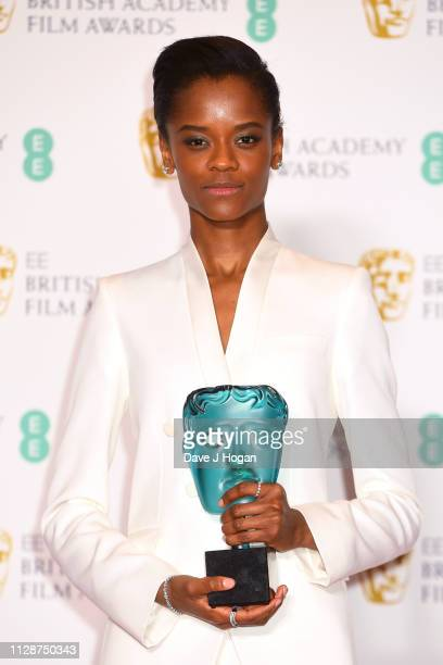 Winner of EE Rising Star Letitia Wright poses with her award in the press room during the EE British Academy Film Awards at Royal Albert Hall on...