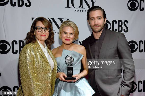 Winner of Featured Actress in a Play Celia KeenanBolger poses with Tina Fey and Jake Gyllenhaal backstage during the 73rd Annual Tony Awards at Radio...