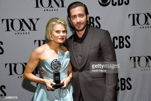 Winner of Featured Actress in a Play Celia KeenanBolger poses with Jake Gyllenhaal backstage during the 73rd Annual Tony Awards at Radio City Music...