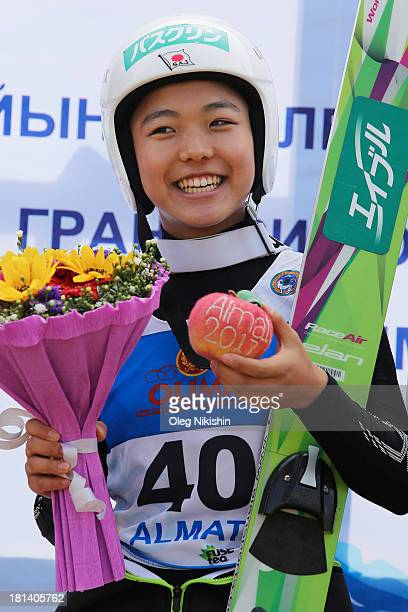 Winner of first day of competitions Sara Takanashi of Japan in the FIS Summer Ski Jumping Womens on September 21 2013 in Almaty Kazakhstan