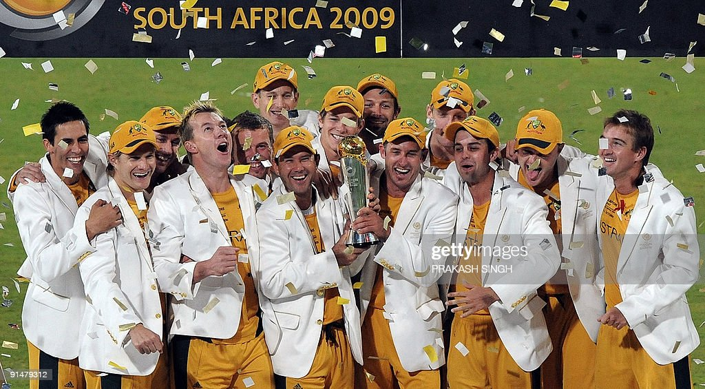 Winner Of ICC Champions Trophy 2009 Australias Cricket Team Players Pose With The