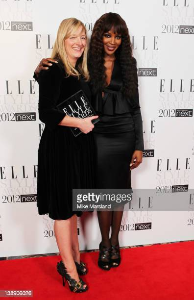 Winner of International Designer of the Year award Sarah Burton poses with Naomi Campbell in the press room during the ELLE Style Awards 2012 at The...