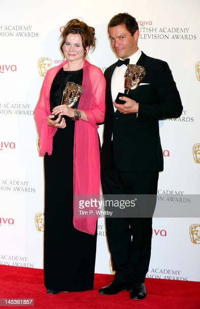 Winner of Leading Actor Dominic West and Leading Actress Emily Watson pose in front of the winners boards at The 2012 Arqiva British Academy...