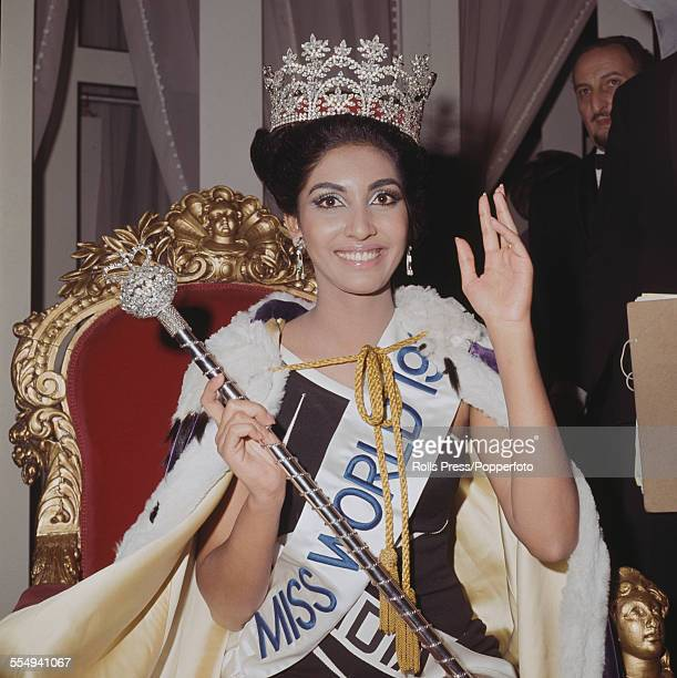Winner of Miss World 1966 Reita Faria of India wears her crown and sits on the winnner's throne at the Lyceum Ballroom in London on 17th November 1966